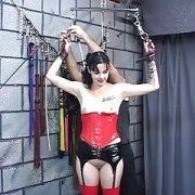 Old sadist canes mature dark-haired bitches pudgy ass in his dungeon