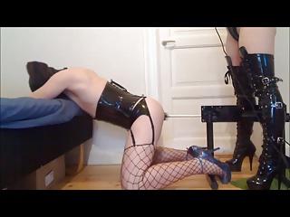 Mistress uses fuck machine on a sissy crossdresser slave