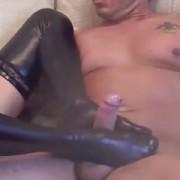 Latex stocking footjob bootjob