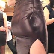 Candid perfect ass is tight wetlook dress (raw footage)
