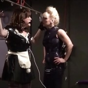 Angelica suspended & cock teased by Madame C's hitachi wands