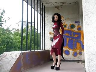 Wearing Latex Dress and a Corset Outside