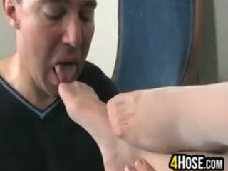 Sexy Feet In White Stockings