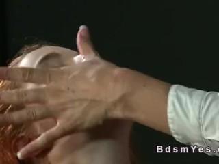 Redhead student slave licks her mistress
