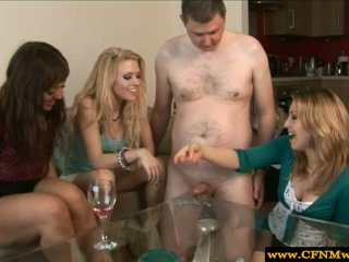CFNM femdoms in group giving handjob to pathe