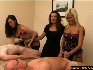 Group of femdoms humiliating subjects